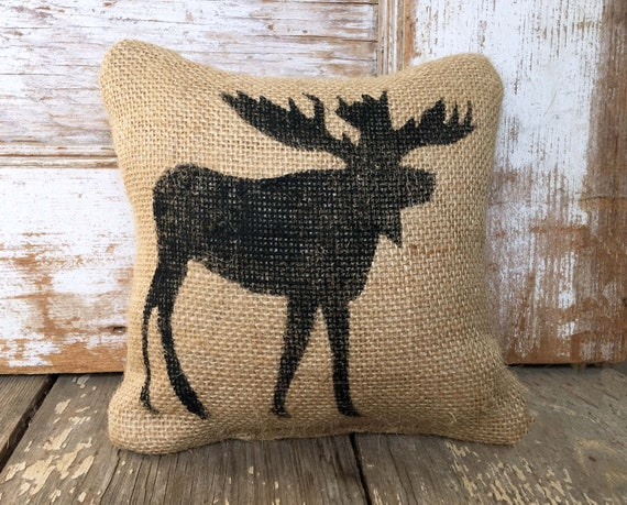 & Wild Moose Burlap Feed Sack Doorstop Moose Decor Cabin | Etsy