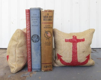 Anchor - Petit Feed Sack Pillow Pair - Unique paper weight, bookends, pin cushion, etc - Nautical Decor - Beach Cottage