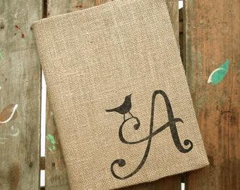 Bird Letter - Monogram Burlap Journal Cover w. Notebook - Initial Journal - Journal Lined  or Journal Blank - Journal Personalized