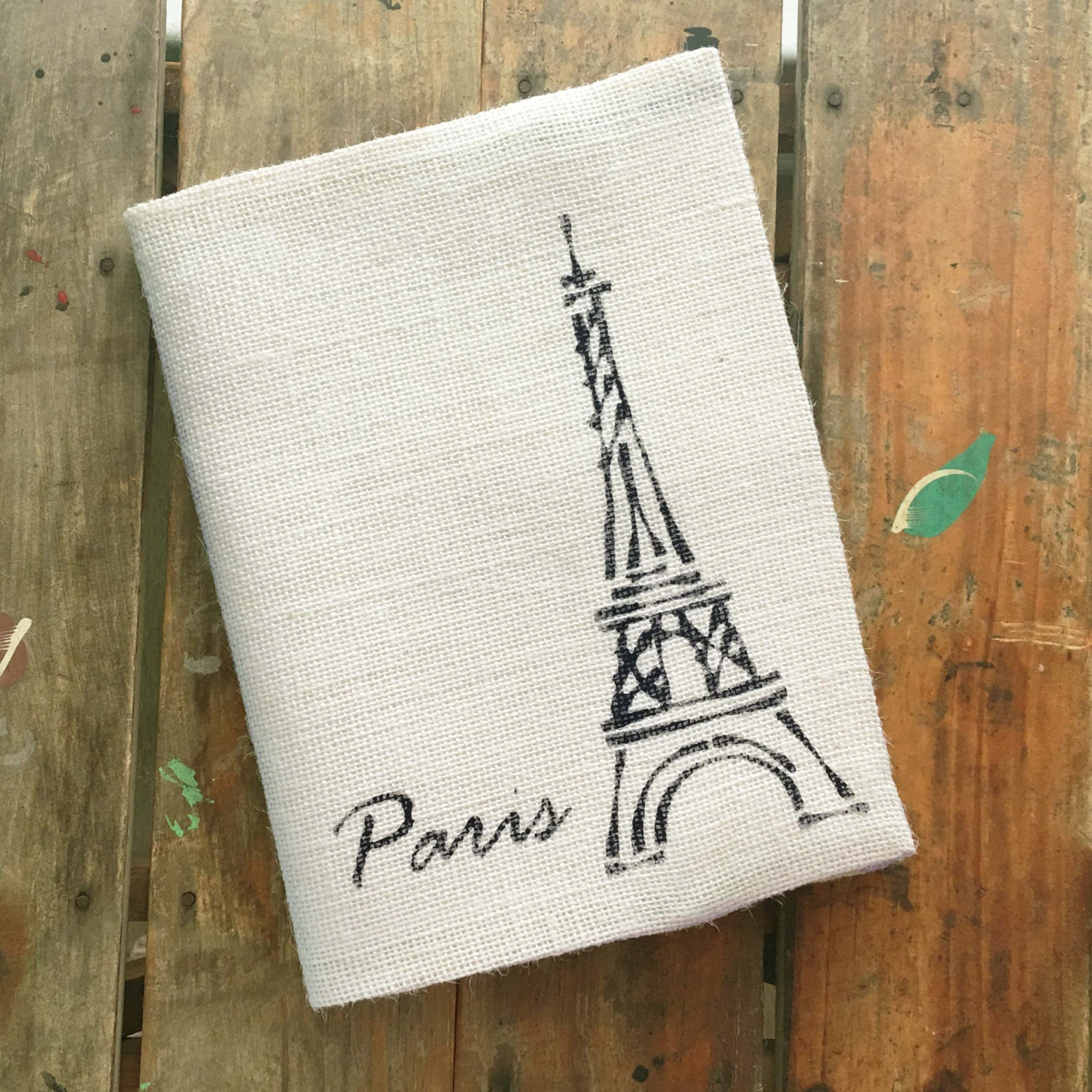 eiffel tower burlap journal cover w notebook french paris