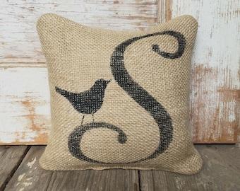 Bird Letter Custom Monogram -  Burlap Feed Sack Doorstop - Letter Door Stop