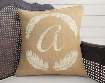 Featherly - Monogram Pillow  - Burlap Pillow - Feather Decor - Burlap Monogram Pillow - Personalized - Feather Print Pillow - Feather Pillow