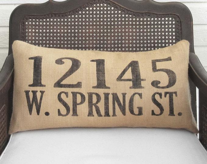 Custom Street Address Pillow  -  Burlap Pillow Lumbar Style - House Address Numbers - Home Address Number Pillow - Home Pillow