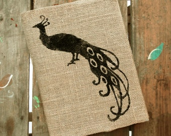 The Clever Peacock -  Burlap Journal  Refillable -  Notebook included - Composition Notebook Cover - Peacock Journal - Sketchbook