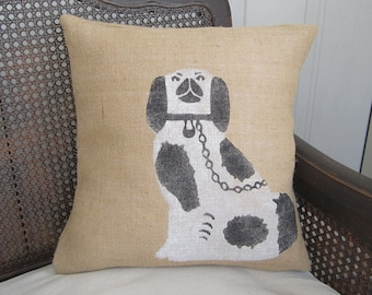 Manor House Staffordshire Dog - Burlap Pillow - Dog Pillow - English Cottage Decor