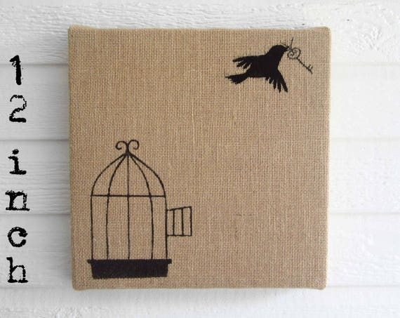 Free To Fly Burlap Over Cork Message Board 40 Inch Pin Etsy Simple Birdcage Memo Board