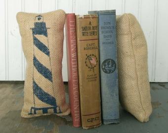 The Cape Lighhouse - Petit Feed Sack Pillow Pair - Unique paper weight, bookends, pincushion,  - Nautical Decor - Lighthouse Decor - Coastal