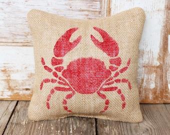 Crab -  Burlap Feed Sack Doorstop - Nautical Door Stop - Crab Decor - Crab Silhouette - Blue Crab - Red Crab
