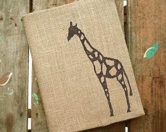 The Charming Giraffe -  Burlap Journal  Refillable -  Notebook included - Composition Notebook Cover - Giraffe  Journal - Sketchbook