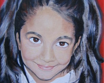 Original Custom Portrait Painting from your own photo, oil painting on canvas, example girl with lace collar, children, family