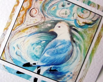 Blank greeting card fine art print of kittiwake sea gull from original painting by Bee Skelton any occasion, birthday thank you anniversary