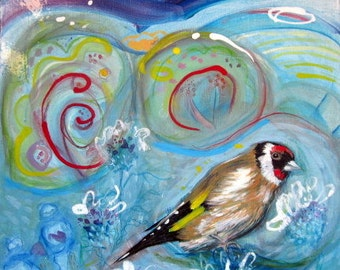 Original Painting of Goldfinch, mixed media abstract art, bird painting, animal art, small painting