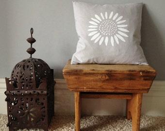 Grey Linen sunflower cushion