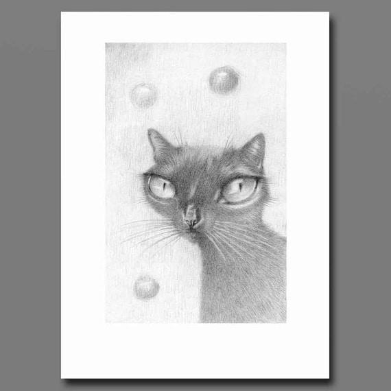 black cat art print from original black cat drawing big eyes etsy