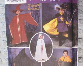 Simplicity UNCUT size 3 4 5 6 7 8 (S,M,L) Child's Cape, Tabard and Hats Costume Pattern # 5512 by Andrea Schewe