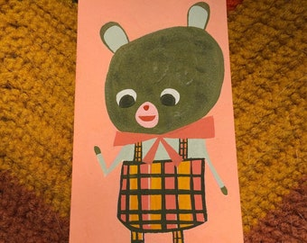 A bear in overalls. Original painting by Matte Stephens.