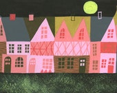 Tudor England at night. Limited edition print by Matte Stephens.