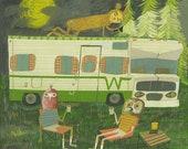 Life after quarantine. Original gouache painting by Matte Stephens.