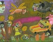 80s Zombie A Go Go. Original painting by Matte Stephens.