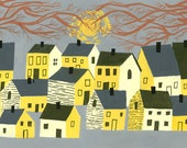 A small village in New England. Limited edition print by Matte Stephens.