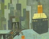 Lower New York Harbor.   Limited edition print by Matte Stephens.
