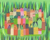 A sleepy village. Limited edition print by Matte Stephens.