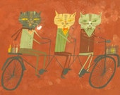 Three philosophers on a tandem bicycle. Limited edition print by Matte Stephens.