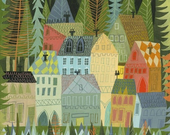 A sleepy village in Norway. Limited edition print by Matte Stephens.
