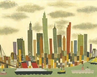 Manhattan.  Limited edition print by Matte Stephens.
