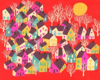 A sleepy town. Limited edition print by Matte Stephens.