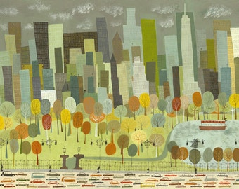 Central Park.  Limited edition print by Matte Stephens.