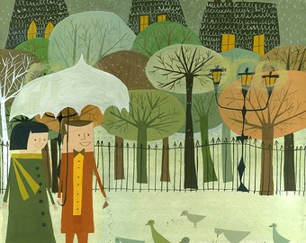 Feeding Birds.  Limited edition print by Matte Stephens.