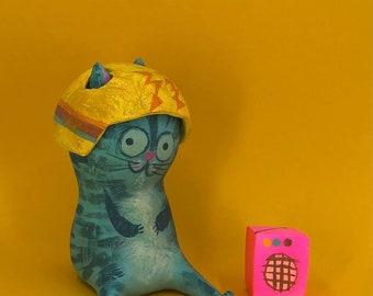 Simon in his communication helmet. Resin cast by Matte Stephens.