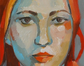 Woman with Orange Hair - Oil Painting Impressionist Colorful Portrait