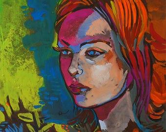 Bright Study of Woman - Gouache Painting on Wood Pop Art Portrait