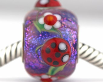 Ladybug Bead sterling silver core Murano GLASS European charm bead for charm bracelets Daisy bead ladybugs dichroic glass Mandy Ramsdell