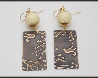 CHERRY BLOSSOM - Handforged Embossed Antiqued Bronze - Bone - Long Earrings
