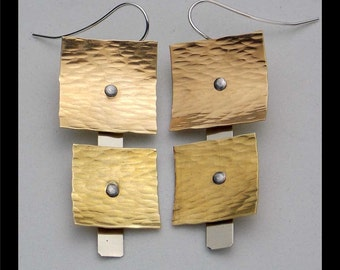 REMMI - Handforged Bronze and German Silver Riveted Statement Earrings