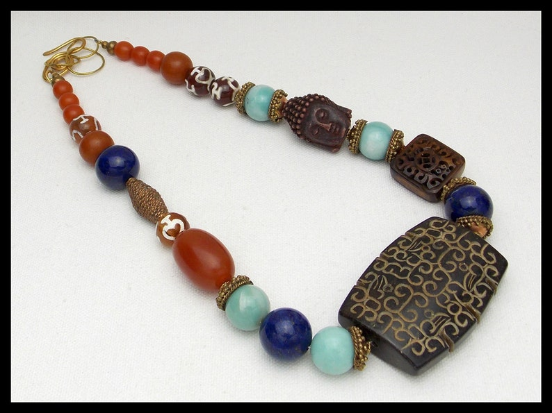 Lapis FAR EASTERN JEWELS Handcarved Jade Focal 1 of a Kind Necklace Amazonite Carved Bone Tibetan Beads 25/% Off