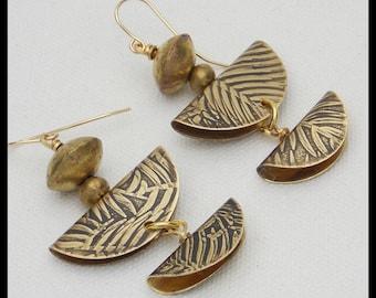 FOLDED FERN LEAVES - Handforged Embossed Fern Leaves Bronze 2 Section Earrings