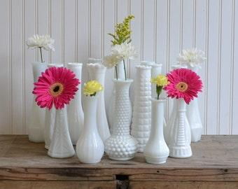 Milk Glass Bud Vase Set - 16 - Royalhillvintage