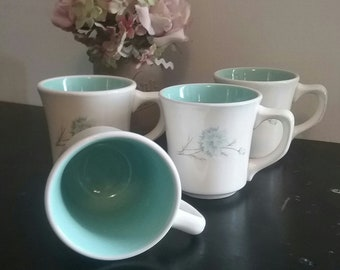 Four Vintage Taylor Smith & Taylor Boutonniere Coffee Mugs