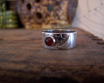 Sun Moon Star,celestial,space,twilight,eclipse,carnelian,gemstone,silver,band,ring,jewelry,handcrafted,handmade,sterling