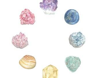 Rainbow Crystals 8x10 various gemstones archival print