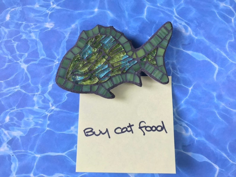 Recycled tempered glass mosaic fish magnet green with mixed colors glitters ceramic magnet fish lover gift