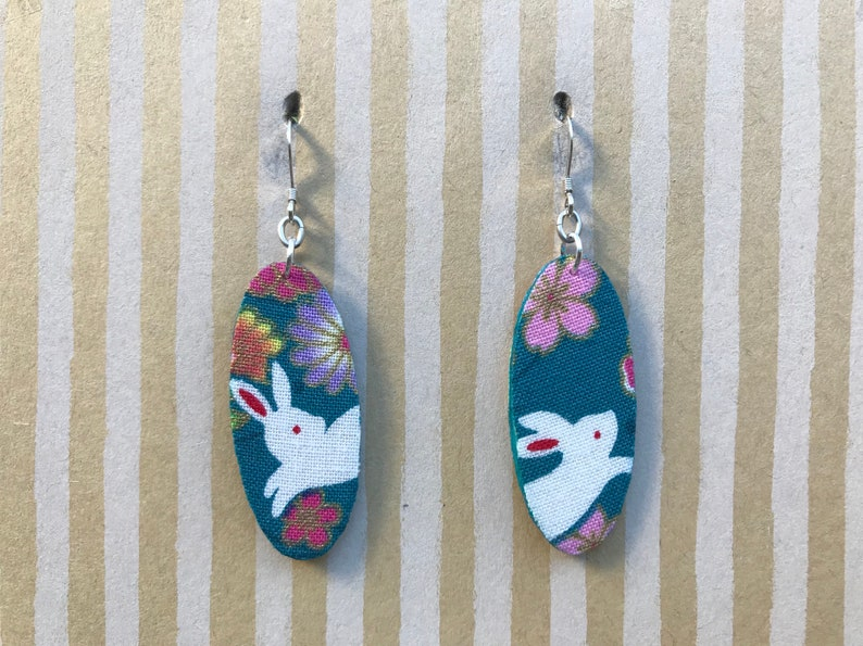 teal oval with Japanese rabbit and flowers bunny owner Lightweight fabric dangle earrings sterling silver earwire rabbit lover gift