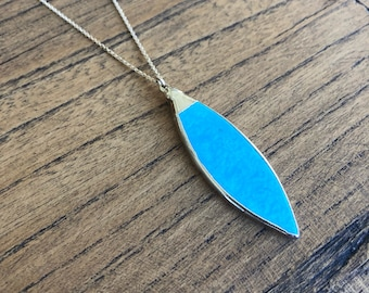 Turquoise pendant necklace, December birthstone turquoise and gold necklace.