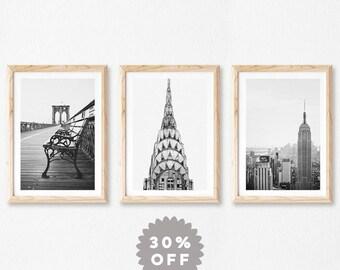 New York Print Set, Black and White Prints, New York City Photography, Travel Posters, Set of 3 Prints, NYC Art, Brooklyn Bridge NYC Skyline