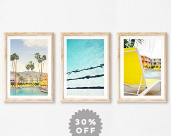 Palm Springs Photography Print Set, Mid Century Modern Wall Art, Set of 3 Prints, Swimming Pool Decor, Large Wall Art Prints, Summer Art