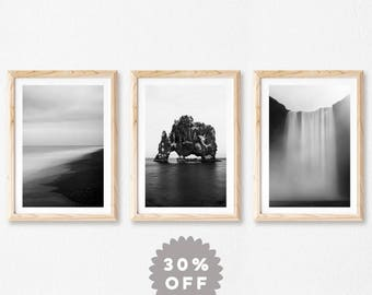 Iceland Prints, Nordic Gallery Wall Art, Set of 3 Prints, Nordic Decor, Scandinavian Black and White Prints, Landscape Photography
